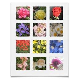 """Наклейки квадратные 5x5см """"Цветник."""" - цветы, роза, ромашки, гладиолус, георгин"""