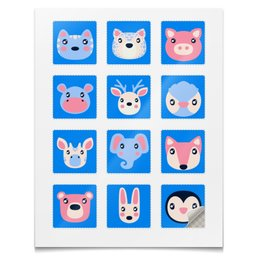 """Наклейки квадратные 5x5см """"Cute Animals"""" - животные, звери, animals, наклейки"""