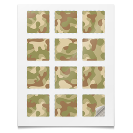 """Наклейки квадратные 5x5см """"Наклейки Камуфляж"""" - армия, камуфляж, милитари, защитный, войска"""