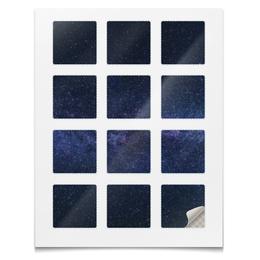 """Наклейки квадратные 5x5см """"Наклейки Космос"""" - планета, космос, небо, абстракция, звёзды"""