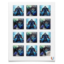 """Наклейки квадратные """"Mortal Kombat X (Sub-Zero)"""" - воин, боец, mortal kombat, sub-zero"""