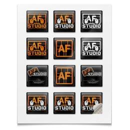"""Наклейки квадратные """"Стиль AFstudio"""" - af, afstudio, ferarist"""