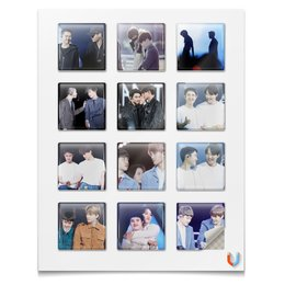 """Наклейки квадратные 5x5см """"Кайсу"""" - exo, jongin, exo kai, kyungsoo, kaisoo"""