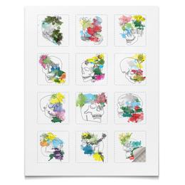 """Наклейки квадратные 5x5см """"Наклейки Череп Акварель"""" - череп, цветы, кляксы, акварель, букет"""