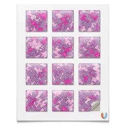 """Наклейки квадратные 5x5см """"Камуфляж """"Мраморный (розовый)"""" """" - узор, розовый, камуфляж, мрамор, военный"""