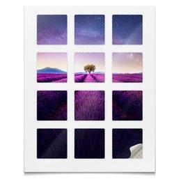 """Наклейки квадратные """"Без названия"""" - космос, небо, природа, звёзды, лаванда"""