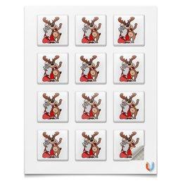 """Наклейки квадратные 5x5см """"Дед мороз с оленем"""" - праздник, новый год, радость, дед мороз, олень"""