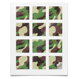"""Наклейки квадратные 12 шт """"Наклейки Камуфляж"""" - милитари, войска, армия, защитный, камуфляж"""