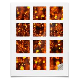 """Наклейки квадратные 5x5см """"Наклейки Янтарь"""" - золото, абстракция, вода, текстура, янтарь"""