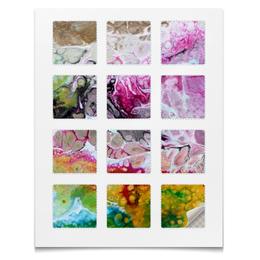 "Наклейки квадратные 12 шт ""Наклейки Краска"" - мрамор, кляксы, краска, вода, абстракция"