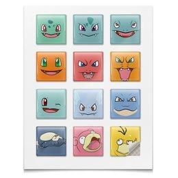 """Наклейки квадратные 5x5см """"Pokemon"""" - покемоны, сквиртл, бульбазавр, чармандер, покемон го"""