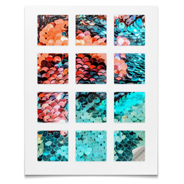"""Наклейки квадратные 12 шт """"Наклейки Блёстки"""" - фейрверк, чешуя, блёстки, текстура, абстракция"""