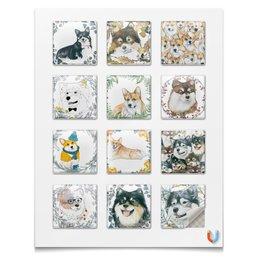 """Наклейки квадратные 5x5см """"Друг человека"""" - животные, собака, корги, вельшкорги, лаппхунд"""