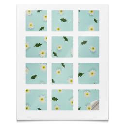 """Наклейки квадратные 5x5см """"Наклейки Цветы"""" - цветы, абстракция, ромашки, растения, текстура"""