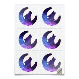 """Наклейки квадратные 9.5x9.5см """"Space animals"""" - звезды, космос, вселенная, animal, wolf"""