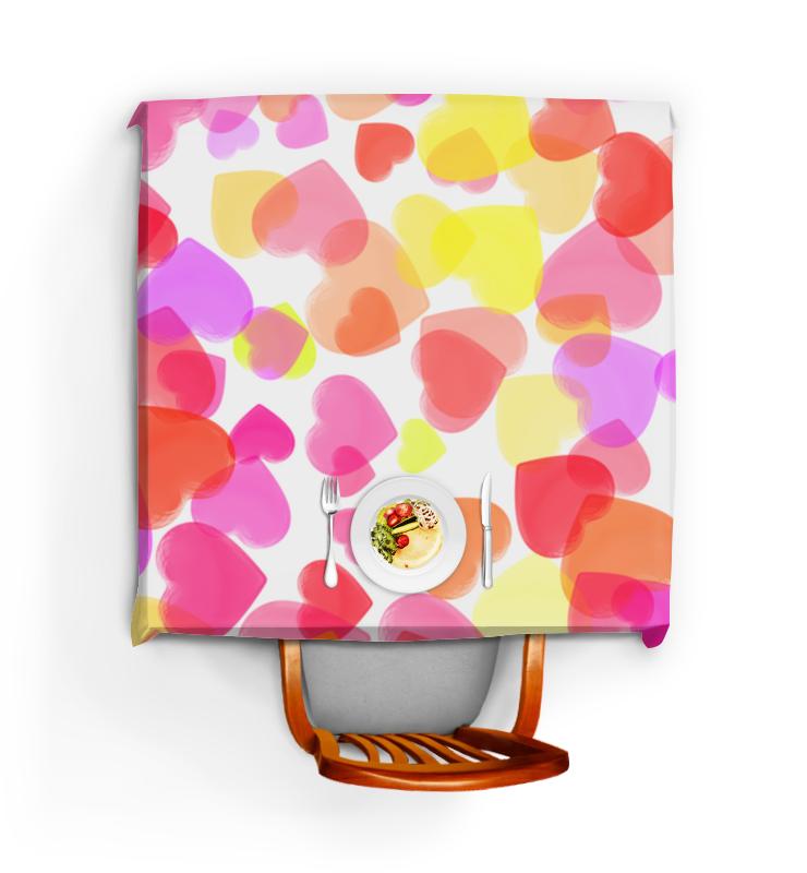 Скатерть квадратная Printio Водопад из разноцветных сердец цена и фото
