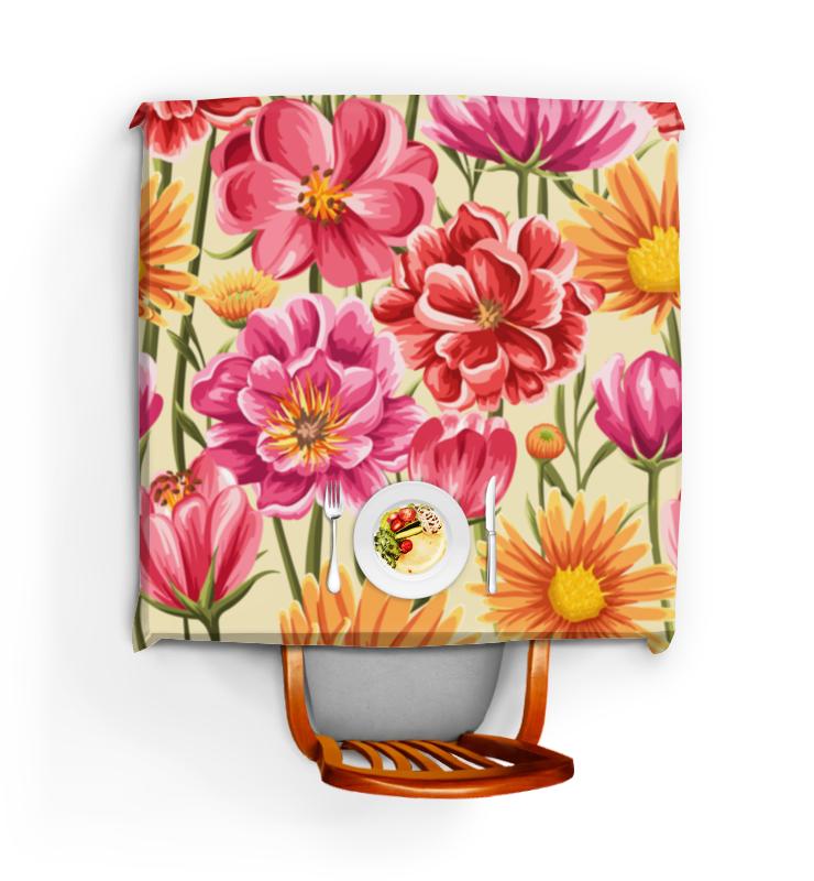 Скатерть квадратная Printio Садовые цветы лейки садовые ведра