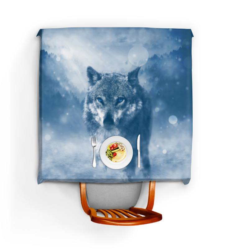 Скатерть квадратная Printio Волк с голубыми глазами цена и фото