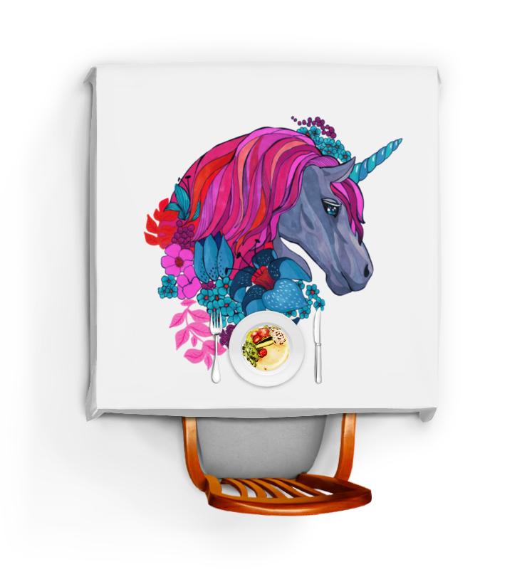 Скатерть квадратная Printio Единорог с розовыми волосами в цветах скатерть quelle эго 1024295 120х150