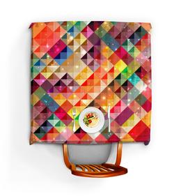 """Скатерть квадратная """"Цветные треугольники"""" - арт, яркая, треугольники"""