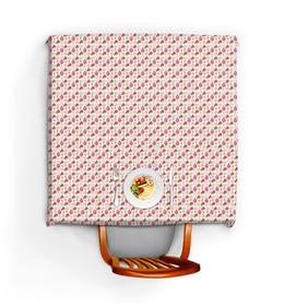 """Скатерть квадратная """"Сладкий стол"""" - еда, сладости, кекс, розовый"""