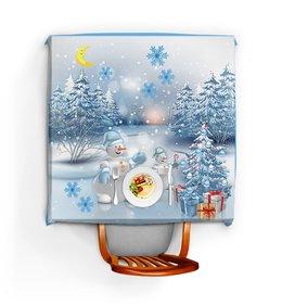 """Скатерть квадратная """"НОВОГОДНЯЯ НОЧЬ"""" - подарки, снежинки, снеговик, елка, арт фэнтези"""
