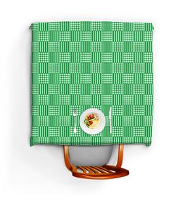 """Скатерть квадратная """"Горох и линия"""" - зеленый, квадрат, геометрия, линия, горох"""