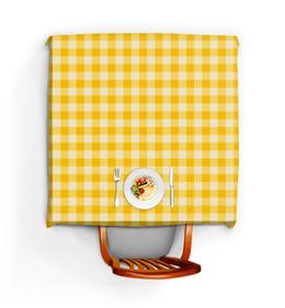 """Скатерть квадратная """"Жёлтая клетка"""" - узор, рисунок, полосы, классический, клетчатый"""