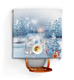 """Скатерть квадратная """"СНЕГОВИКИ"""" - праздник, новый год, зима, снег, елка"""