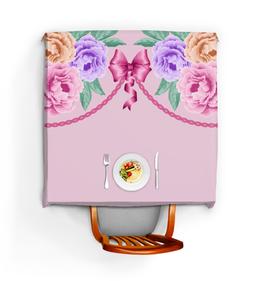 """Скатерть квадратная """"Цветы"""" - цветы, розы, бант"""