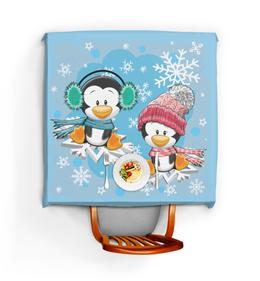 """Скатерть квадратная """"Пингвин зимой"""" - новый год, зима, пингвин, снежинки"""