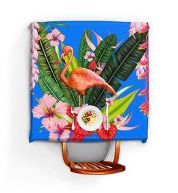 "Скатерть квадратная ""Фламинго"" - фламинго, птица, цветы"