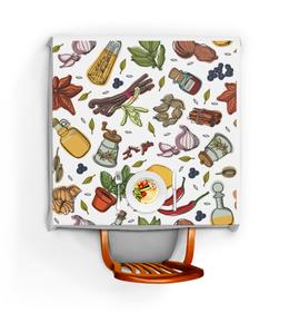 """Скатерть квадратная """"Специи"""" - ресторан, кухня, приправы, овощи, перец"""
