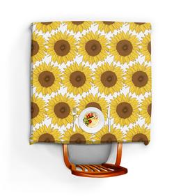 "Скатерть квадратная ""Sunflower"" - sunflower, flower, sun, pattern, yellow"