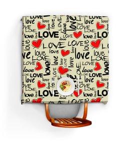 """Скатерть квадратная """"ЛЮБОВЬ LOVE"""" - стиль, сердца, абстракция, надпись любовь, арт фэнтези"""