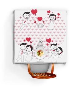 """Скатерть квадратная """"Свадьба"""" - любовь, свадьба, семья, сердечки, пары"""