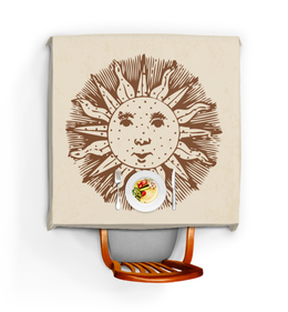 """Скатерть квадратная """"Солнечный лик"""" - солнце, лицо, рисунок, круги, лучи"""