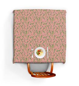 """Скатерть квадратная """"Веган """" - розовый, для девушки, овощи, аспарагус, веганский"""