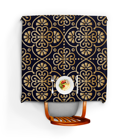 """Скатерть квадратная """"Цветочное золото"""" - орнамент, кружево, мандала, этнический, узор"""