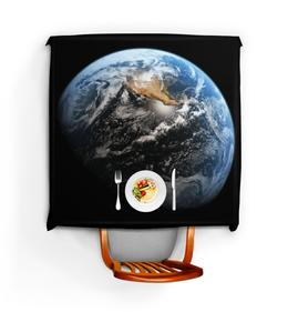 """Скатерть квадратная """"Завтрак на Земле"""" - арт, планета, космос, земля"""