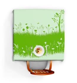 """Скатерть квадратная """"Летняя трава"""" - бабочки, лето, цветы, трава, стрекозы"""