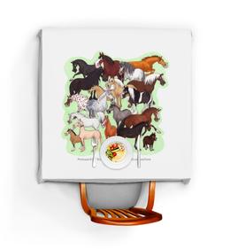 """Скатерть квадратная """"Конедудл"""" - лошадь, кони, породы лошадей"""