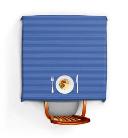 """Скатерть квадратная """"В полоску"""" - полоска, голубой, рисунок, синий, неровный"""
