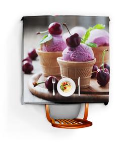 """Скатерть квадратная """"Мороженное с вишней"""" - арт, ягоды, мороженное"""