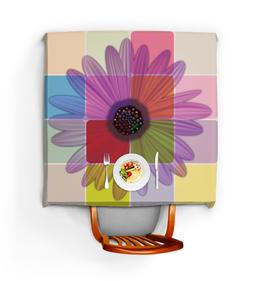 """Скатерть квадратная """"Гербера"""" - цветы, листья, рисунок, ромашка, растения"""