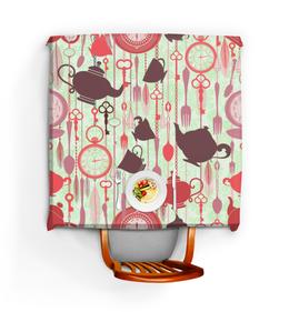 """Скатерть квадратная """"Чайная"""" - вилка, часы, чай, кофе, кухонный"""