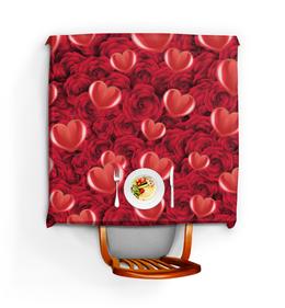 """Скатерть квадратная """"Сердечки и розы"""" - любовь, день святого валентина, сердечки, розы, день влюблённых"""