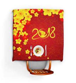 """Скатерть квадратная """"Собака"""" - новый год, цветы, собака, 2018"""