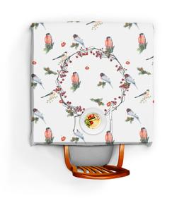 """Скатерть квадратная """"Новогодний сюрприз """" - птицы, новыйгод, снегирь, рябина"""