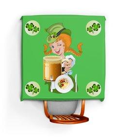 """Скатерть квадратная """"День Св. Патрика"""" - девушка, еда, клевер, пиво, день святого патрика"""